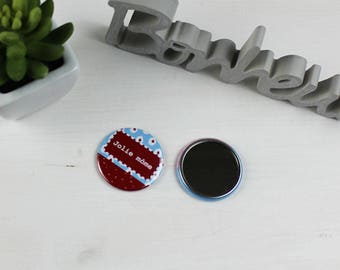 Pocket mirror turquoise blue and Red geographic pattern