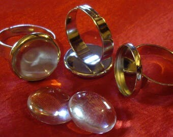 Set of 20 Supports ring 14 mm glass Cabochon + adjustable silver color