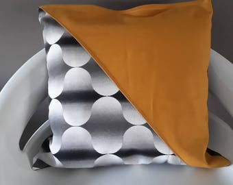 Cushion cover 30 x 30 cm yellow mustard. black and white geometric patterns