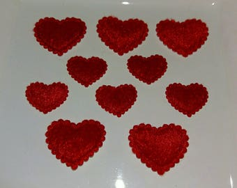 Set of 10 Red hearts Valentine's day embellishments