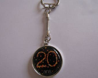 SALE 20 years silver keychain