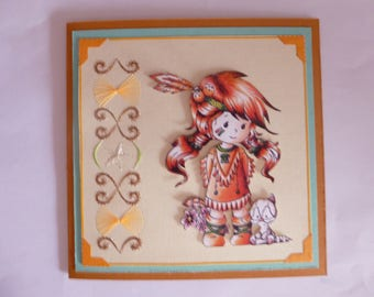 """201776 card embroidered """"little Indian and her cat"""""""
