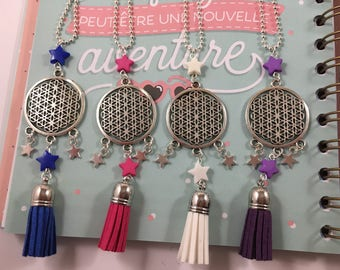 Star charm necklace style mandala and suede tassel