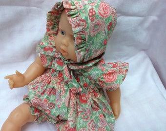 Liberty Elysian pink romper has smocking doll 30 cm