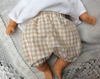 clothes, bloomer natural gingham doll 42 cm