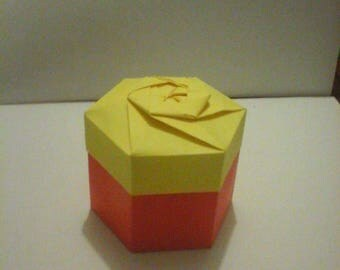 Lot de 10 boites origami hexagonale rouge et jaune