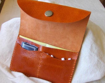 Varnished rusty hand-stitched leather tobacco pouch