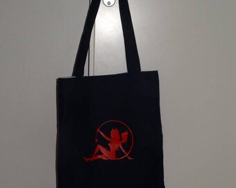 """Tote bag """"black and purple"""" with zipper"""