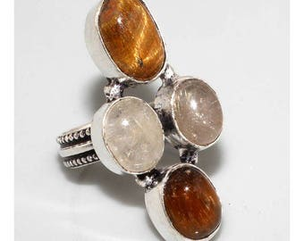 Rock crystal and silver size 55 Tiger eye ring
