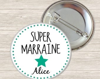 Badge personalised godmother 3.8 cm / name