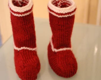 Red and White Christmas Baby woolen boots booties