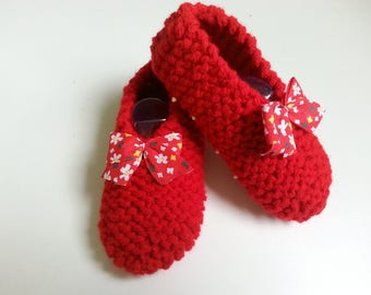 Slippers children girls slip T 27-30 red enhanced with a liberty bow