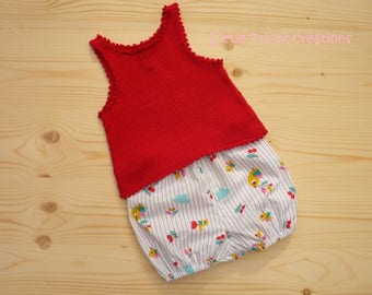Bloomer and cotton sweater for girl (baby 3 months) handmade