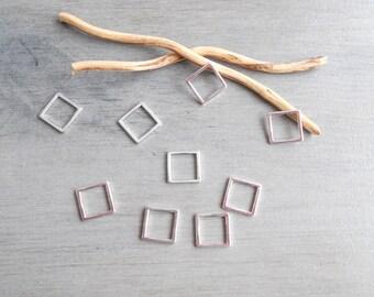 Set of 10 square connectors silver