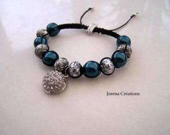 Bracelet shamballa beads and rhinestones