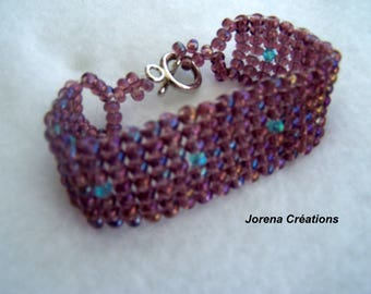 Cuff Bracelet purple/blue seed beads