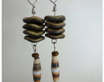 Earrings Pearl paper and gold chip silver rondelles beads