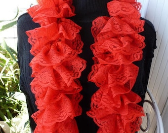 Red lace a beautiful full ruffle scarf handmade needles