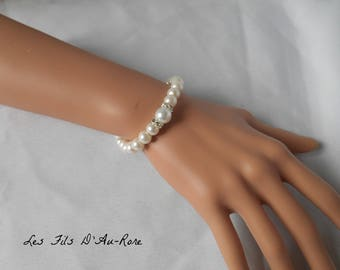 """Wedding """"ANABELLE"""" bracelet in Pearly beads"""