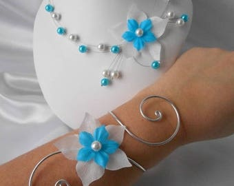 """Set wedding 3 piece """"M"""" necklace, bracelet & Earrings turquoise and white"""