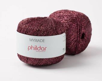Metalic thread brilliant phildar yarn multi color purple