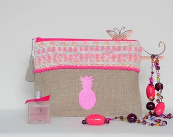 Pineapple neon pink pouch