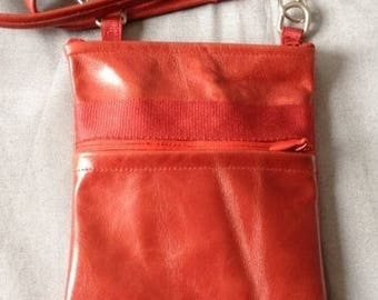 Small hammered/distressed red leather shoulder bag