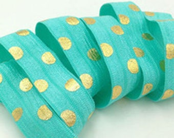MINT polka dot gold / elastic / Headband width 15mm, cut 50 cm