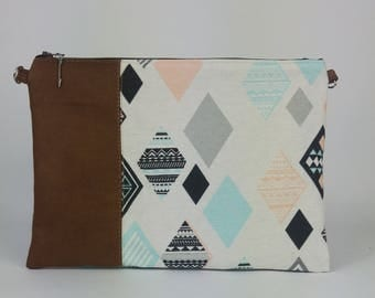 Teepee cotton pouch and Brown upholstery fabric