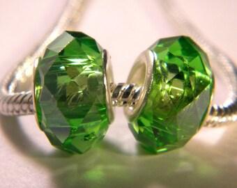 bead charm European-14 x 10 mm Green Emerald - C37 faceted glass