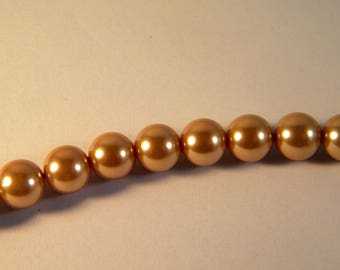 15 pearls 10 mm Honey Brown Pearly glass Pearl
