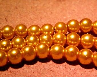 50 glass Pearl 8 mm - Golden - AP14 iridescent beads
