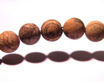 10 natural 10 mm - gems stones PG200 semi-precious Jasper gemstone beads
