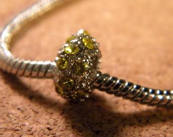 bead charms European rhinestones yellow plate - 11 x 6 mm BP57