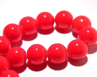 "20 glass beads 10 mm way""jade""-PG237 bright red """
