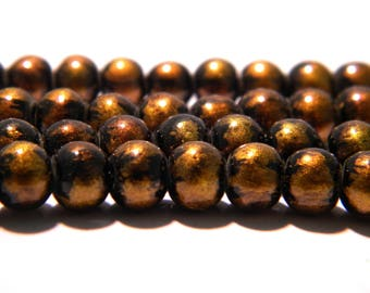 20 6 mm-2 iridescent matte-black and gold glass bead - glass - K23-1 bead