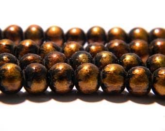 20 6 mm-2 iridescent matte-black and gold glass bead - glass - K23-1 bead