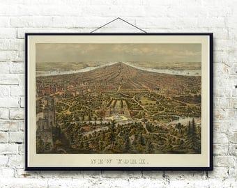 New York City 1873 Bird's Eye View Map Fine Art Print
