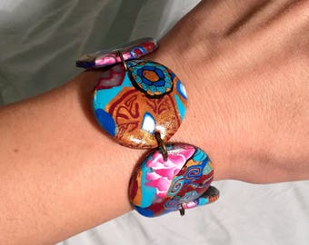 Polymer clay, forbidden city China inspiration, chain bracelet