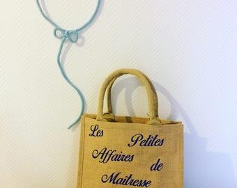 Burlap jute tote bag tote bag while customizable burlap size M