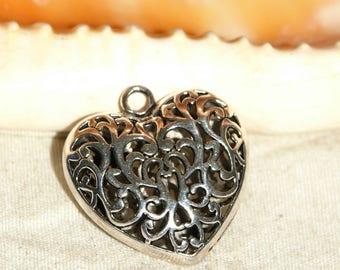 Tibetan silver 40 X 35 mm baroque heart charm pendant