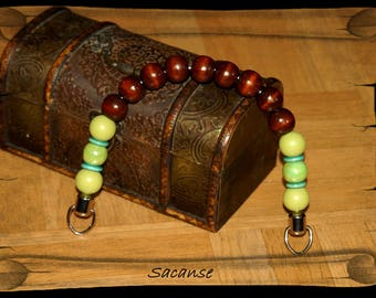 Bag handle 30 cm, metal and beads of different sizes