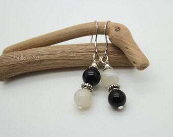 Moonstone and Obsidian earrings