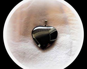Hematite (gemstone) heart pendant.