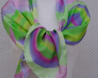 """Hand painted scarf, scarf in green and purple silk pongee """"cyclones"""". Unique piece"""