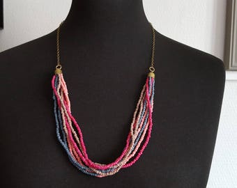 long necklace mi with seed beads, four colors and chain bronze