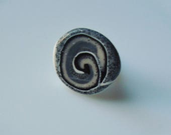 Black and grey swirl polymer clay ring
