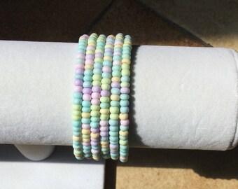 Bracelet Czech pastel memory wire.