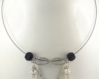 "Steel cable Choker necklace / ""Infinity"" spacer with Rhinestones"