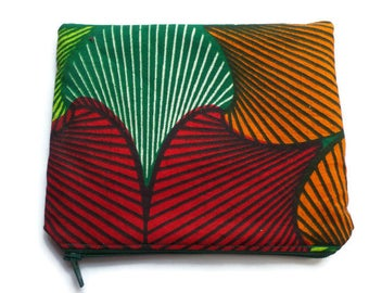 Zippered Makeup Bag African Fabric in Red Orange and Green, Cosmetics Pouch, Toiletries Purse, Pencil Case, Fully Lined